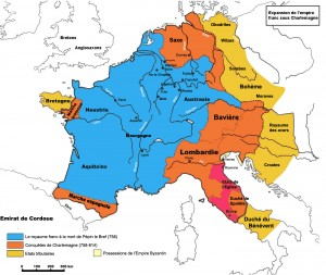 «Empire carolingien 768-811» par cyberprout — Wiki common. Sous licence CC BY-SA 3.0 via Wikimedia Commons - https://commons.wikimedia.org/wiki/File:Empire_carolingien_768-811.jpg#/media/File:Empire_carolingien_768-811.jpg